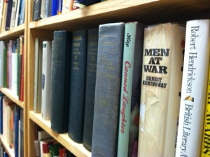 History books on shelves