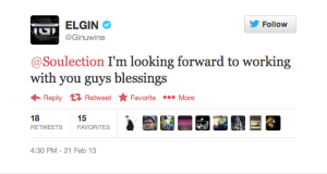 Recording artist Ginuwine's tweet to Soulection on Feb. 21, 2013