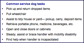 Common service dog tasks