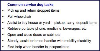 Common service dog tasks