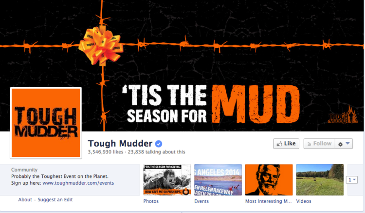 """Tough Mudder's Facebook page has over 3.5 million """"likes."""""""