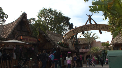 Adventureland replicates a jungle-like town.