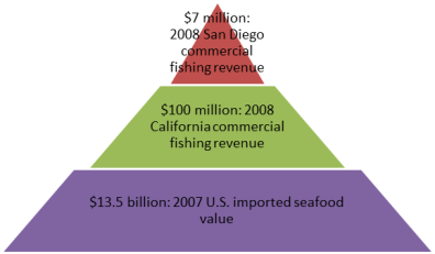 U.S. Imported Seafood and California-San Diego Commercial Fishing Revenue (Source: Port of San Diego)