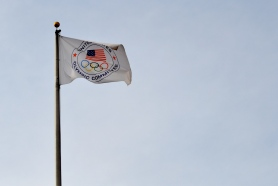 The U.S. Olympic Committee flag flies high above the visitor center