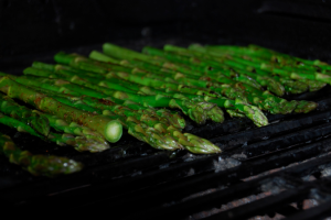 Photo Credit: Stormy Buonantony. Asparagus is being grilled as a side dish for dinner.