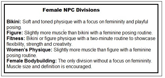 The various competitive bodybuilding divisions for women within the NPC.