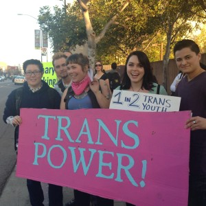 Transgender Activist Amber Tiffany-Furuya at a rally against the AB 1266 referendum. Weeks later, AB 1266 supporters gathered at the same street to celebrate the referendum's failure. Photo by Arturo Garcia Sierra