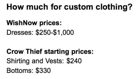 This is what it usually costs for custom services by WishNow and Crow Thief.