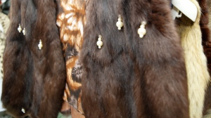 A sample of Kiser's work with fur, using beads as a way to appeal to a younger market.