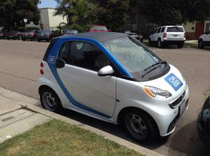 Car2Go vehicles are available in select cities around the world.  The service relies on an app to locate and reserve the cars.
