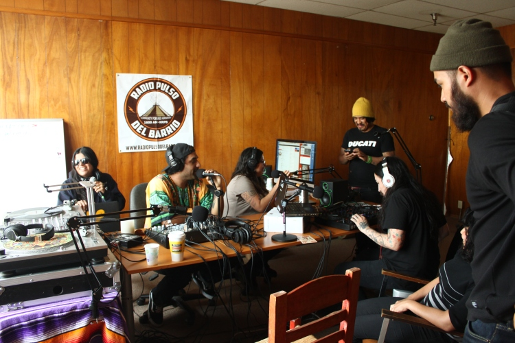 "(Left to right) Ana Brown, Bob Green and Bucky Montero are joined in the studio by urban gardener and organizer ""DaleTron,"" disc jockey ""Josex,"" and San Diego City College students Laura Sanchez and Richard Lomibao."