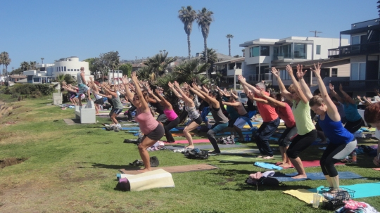Yoga Instructor Steve Hubbard guides San Diegans through a 90 minute yoga practice to help alleviate tightness and tension in their bodies.
