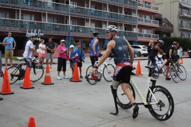 Johnston prepares to race more than 40 miles in the Aspen San Diego Triathlon Challenge. Athletes and their families traveled from around the country to attend the event in La Jolla, CA.