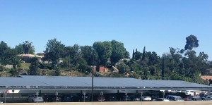 At San Diego State University, most of the schools' solar consists of panels on top of parking structures. Photo Credit: Hallie Hoffmann 2016.