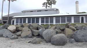 Ever since Jake's Del Mar configured these boulders in front of their restaurant, they've been protected from dangerous high tides and king waves during the storm season. (Photo by Casey Hands)